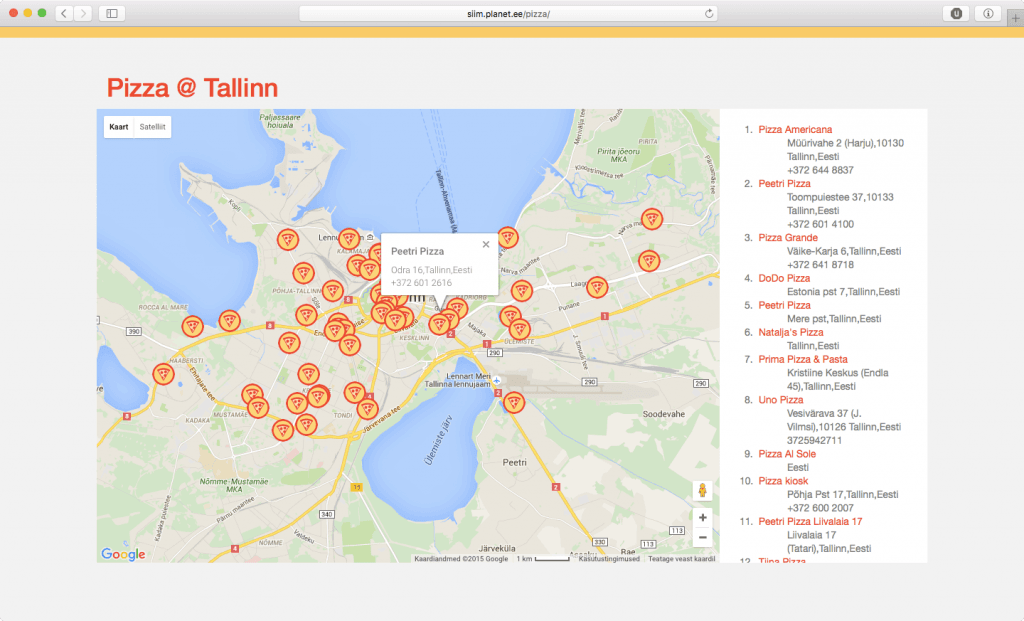 Kust saab pitsat Tallinnas?